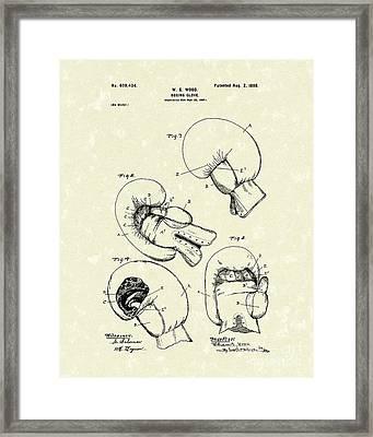 Boxing Glove 1898 Patent Art Framed Print by Prior Art Design