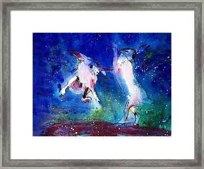 Boxing Hares Framed Print by Neil McBride