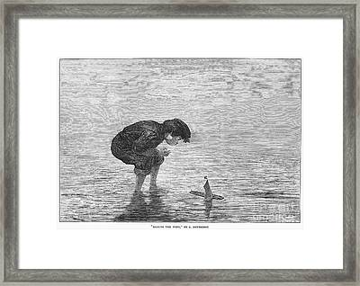 Boy And Toy Boat Framed Print by Granger