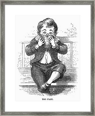 Boy Eating Framed Print by Granger