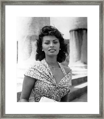 Boy On A Dolphin, Sophia Loren, 1957 Framed Print by Everett