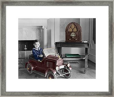 Boy With Toy Car Framed Print by Andrew Fare