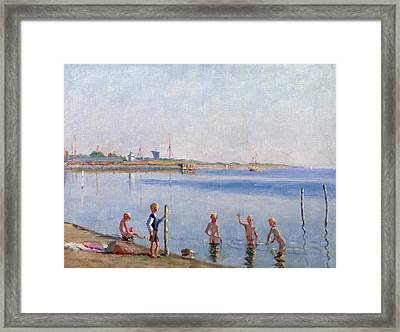 Boys At Water's Edge Framed Print by Johan Rohde