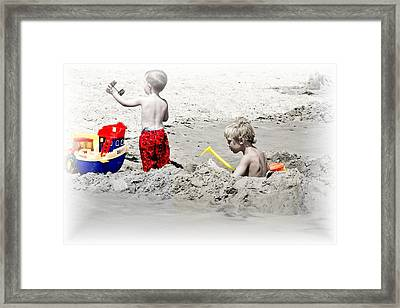 Boys Will Be Boys At The Beach Nj Framed Print by Gwenn Dunlap