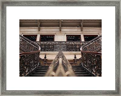 Brass Rail Reflection Framed Print by Peter Chilelli