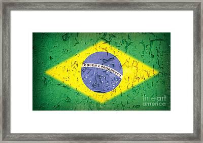 Brazil Flag Vintage Framed Print by Jane Rix