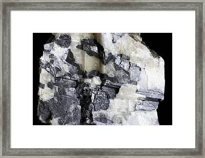 Brazilianite Crystals In Calcite Framed Print by Dirk Wiersma