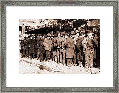 Bread Line Of Men On New York Citys Framed Print by Everett