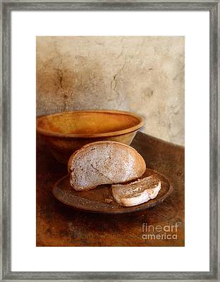 Bread On Rustic Plate And Table Framed Print by Jill Battaglia