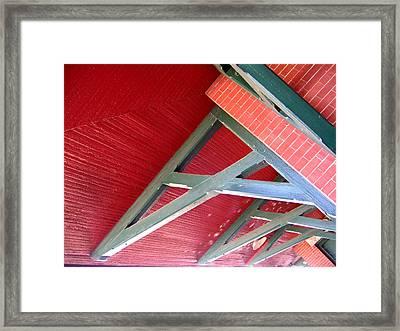 Brick And Wood Truss Framed Print by Denise Keegan Frawley