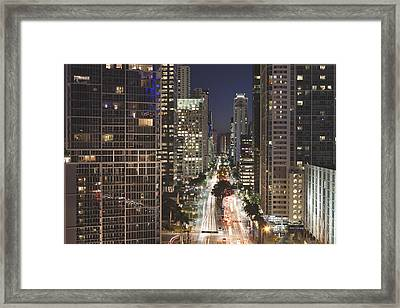 Brickell Avenue, Downtown Miami, At Night Framed Print by Marcaux