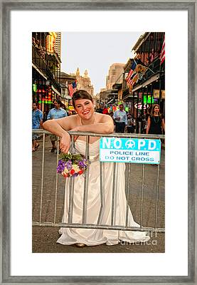 Bride And The Barricade On Bourbon Street Framed Print by Kathleen K Parker