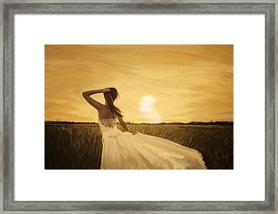 Bride In Yellow Field On Sunset  Framed Print by Setsiri Silapasuwanchai