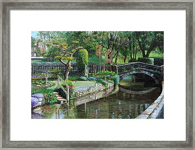 Bridge And Garden - Bakewell - Derbyshire Framed Print by Trevor Neal