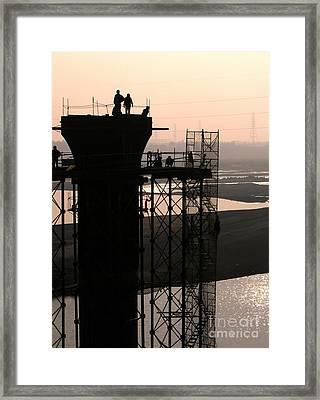 Bridge Construction Framed Print by Yali Shi