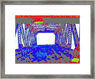 Bridge In Blue Framed Print by Val Oconnor