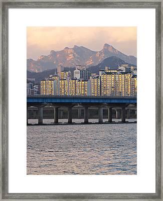 Bridge Over Han River In Seoul, South Korea Framed Print by Copyright Michael Mellinger