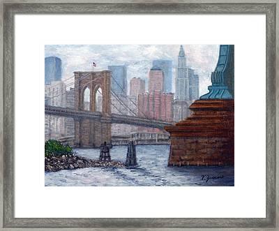 Bridges To Manhattan Framed Print by Victor Zucconi