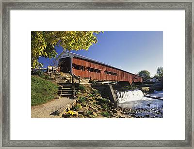 Bridgeton Covered Bridge - Fm000064 Framed Print by Daniel Dempster