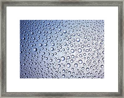 Bright Blue Regular Drops Of Condensation Framed Print by Anthony Bradshaw