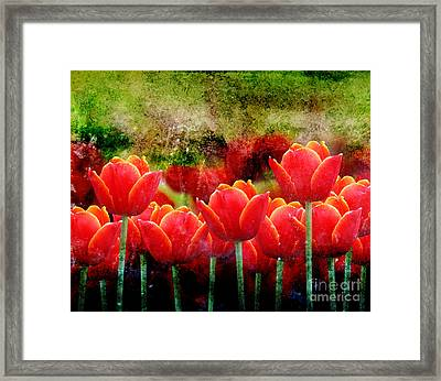 Bright Red Textured Tulip Flower Framed Print by Angela Waye