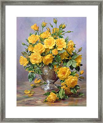 Bright Smile - Roses In A Silver Vase Framed Print by Albert Williams
