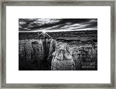 Bright Sun Setting At Coal Mine Canyon Bw Framed Print by Darcy Michaelchuk