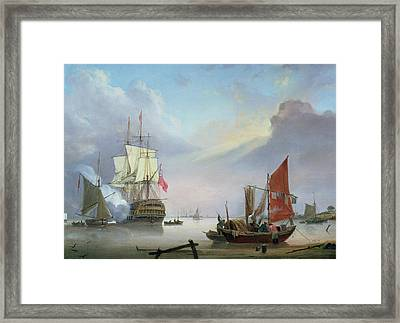 British Man-o'-war Off The Coast Framed Print by George Webster