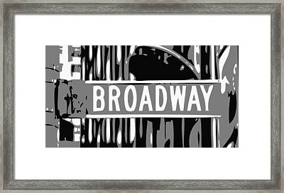 Broadway Sign Color Bw3 Framed Print by Scott Kelley