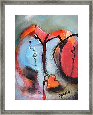 Broken And Blue Heart Framed Print by Gary Smith