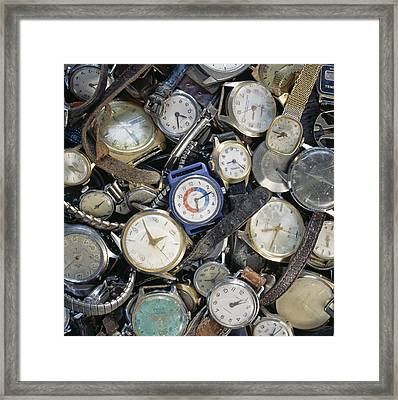 Broken Wrist-watches Framed Print by Kevin Curtis