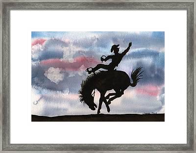 Bronco Busting Framed Print by Sharon Mick