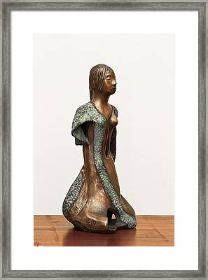 Bronze Hollow Lady In Gown Right View 2 Sculpture In Bronze And Copper Green Long Hair  Framed Print by Rachel Hershkovitz