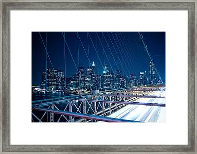 Brooklyn Bridge And Lower Manhattan By Night Framed Print by Miemo Penttinen - miemo.net