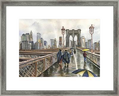 Brooklyn Bridge Framed Print by Anne Gifford