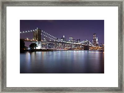 Brooklyn Bridge At Night 3 Framed Print by Val Black Russian Tourchin
