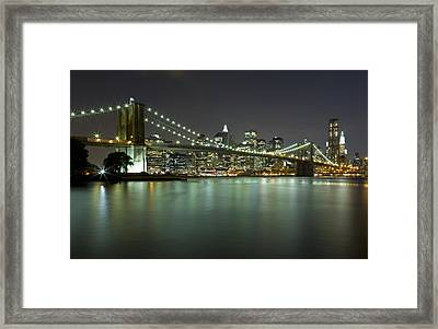 Brooklyn Bridge At Night 4 Framed Print by Val Black Russian Tourchin