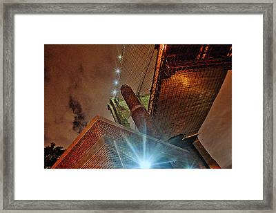 Brooklyn Bridge At Night Framed Print by Alex AG