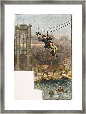 Brooklyn Bridge Mechanic Framed Print by Granger