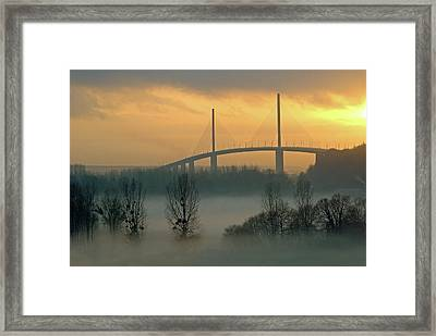 Brotonne Bridge Framed Print by Photographie Hg Meunier