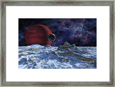 Brown Dwarf With Planet And Moon Framed Print by Lynette Cook