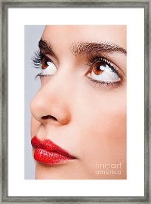 Brown Eyes And Red Lips Framed Print by Richard Thomas