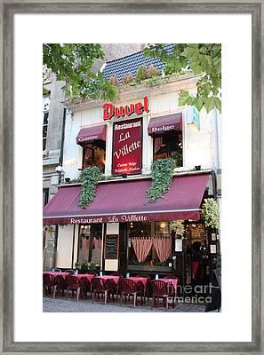 Brussels - Restaurant La Villette With Trees Framed Print by Carol Groenen