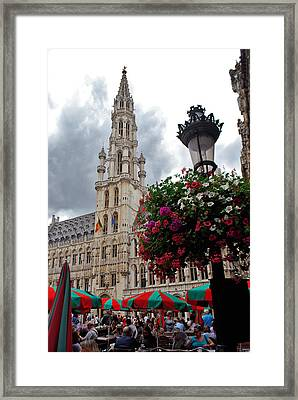 Brussels Town Hall And Cafe In The Grand Place Market Square Belgium Framed Print by Jeff Rose