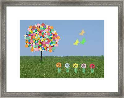 Bubblegum Tree Framed Print by Rosalie Scanlon