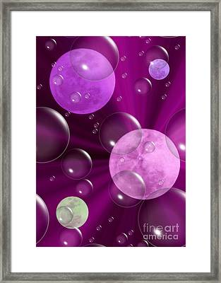 Bubbles And Moons - Purple Abstract Framed Print by Carol Groenen
