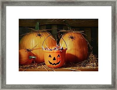 Bucket Filled With Halloween Candy Framed Print by Sandra Cunningham