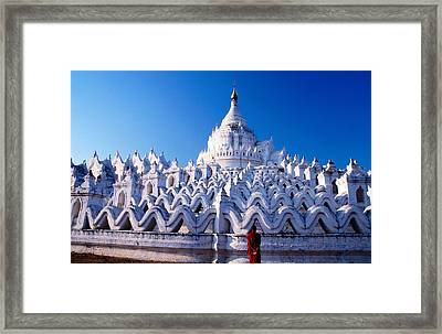 Buddhist Monk Contemplating Hsinbyume Paya (myatheindan), Mingun, Mandalay, Myanmar (burma), South-east Asia Framed Print by Stu Smucker
