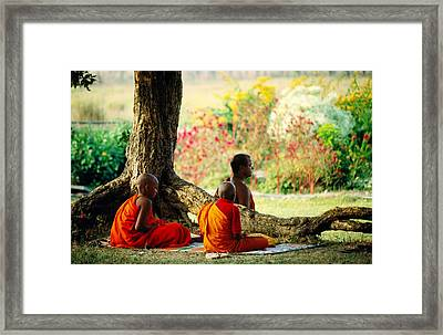 Buddhist Monks At Meditation Under Tree Framed Print by Lindsay Brown
