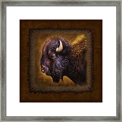 Buffalo Lodge Framed Print by JQ Licensing